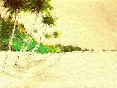 Vintage Tropical Beach Art Print by Anthony Fishburne