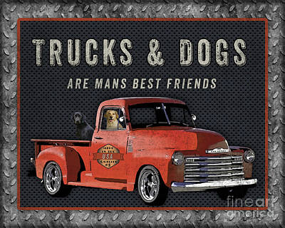 Labrador Retriever Digital Art - Vintage Truck Sign-jp3722r by Jean Plout