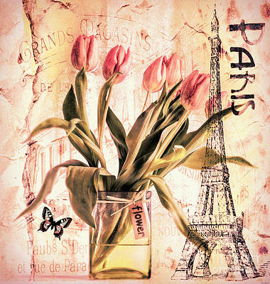 Digital Art - Vintage Tulips by Tina LeCour