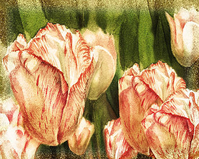 Tulips Watercolor Wall Art - Painting - Vintage Tulips Watercolor Art by Irina Sztukowski