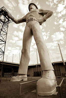 Photograph - Vintage Tulsa Driller - Sepia by Gregory Ballos