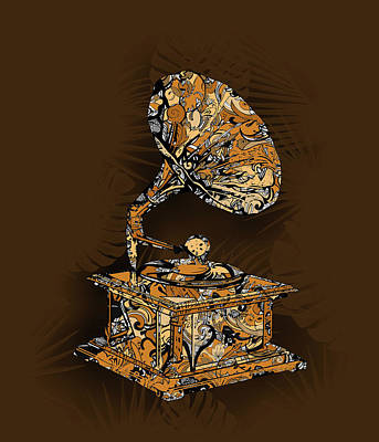 Digital Art - Vintage Turntable 4 by Bekim Art