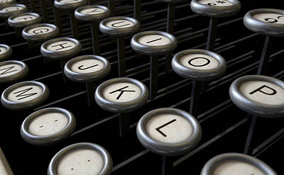 Vintage Typewriter Keys Close Up Print by Allan Swart