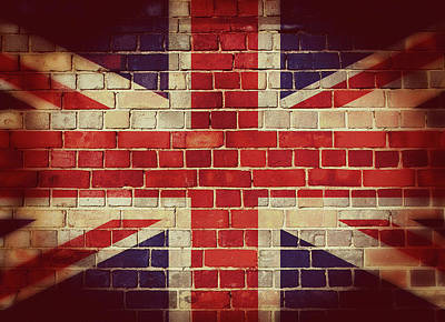Digital Art - Vintage Uk Flag On A Brick Wall by Steve Ball