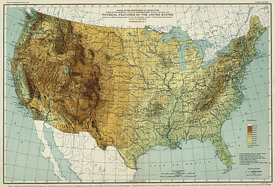 Physical Geography Drawing - Vintage United States Physical Features Map - 1915 by CartographyAssociates