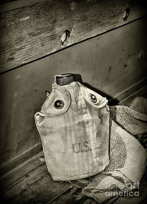 Photograph - Vintage Us Canteen In Black And White by Paul Ward