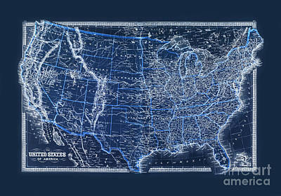 Us Map Photograph Vintage Us Map From 1880 By Delphimages Photo Creations