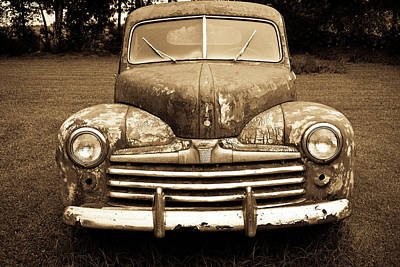 Sports Royalty-Free and Rights-Managed Images - Vintage Vehicle in Sepia 1 by Douglas Barnett