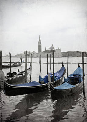 Gray Photograph - Vintage Venice In Black, White, And Blue by Brooke T Ryan