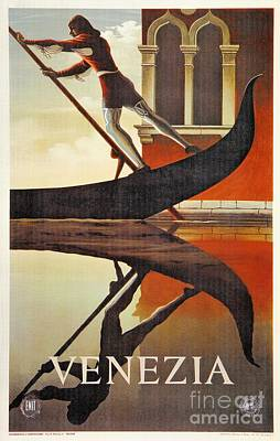 Vintage Venice Italy Travel Advert Gondola Art Print by Heidi De Leeuw