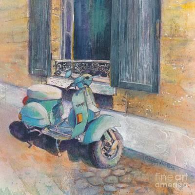Motorcyle Painting - Vintage Vespa by Carolyn Wilson