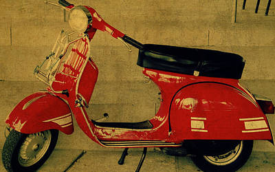Vespa Mixed Media - Vintage Vespa Scooter Red by Design Turnpike