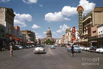 Photograph - Vintage view downtown Austin looking up Congress Avenue in front by Austin Welcome Center
