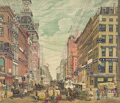 Store Signs Painting - Vintage View Of Broadway In New York City, Circa 1880 by American School