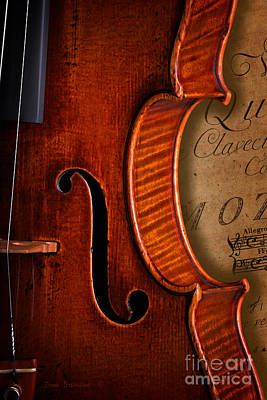 Photograph - Vintage Violin With Antique Mozart Sheet Music by John Stephens
