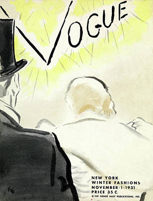 Oscar Photograph - Vintage Vogue Cover Of Couple In Eveningwear by Carl Oscar August Erickson