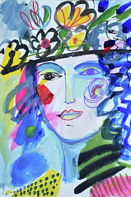Painting - Vintage Vogue Flower Hat  by Amara Dacer