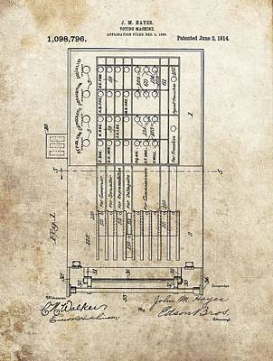 Vintage Voting Machine Patent Art Print
