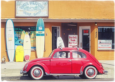 Surfing Photograph - Vintage Vw Bug Surfer Car by Edward Fielding