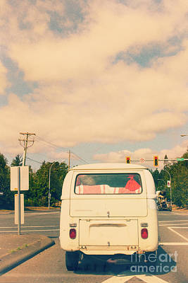 Photograph - Vintage Vw Bus On The Road by Patricia Hofmeester