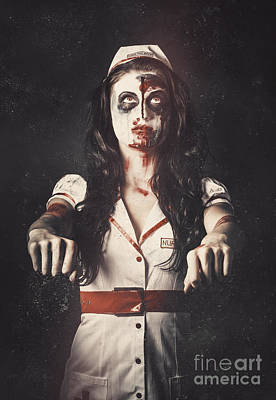 Vintage Walking Dead Horror Nurse Art Print by Jorgo Photography - Wall Art Gallery