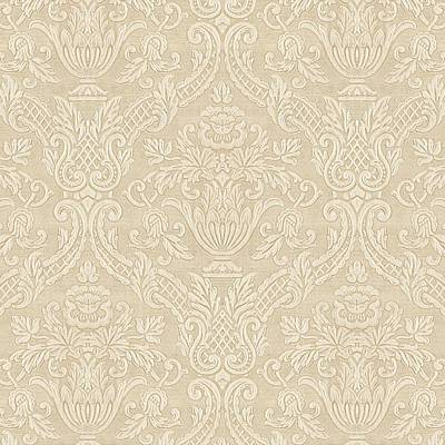 Digital Art - Vintage Wallpaper Beige Floral Elegant Damask by Tracie Kaska