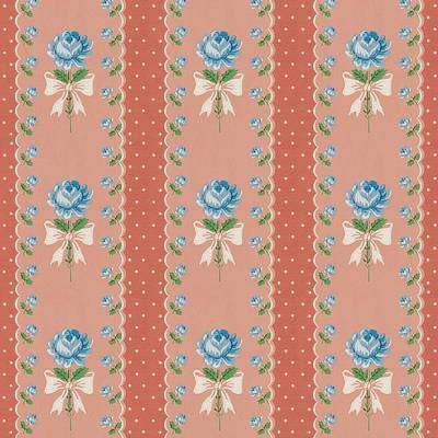 Digital Art - Vintage Wallpaper Blue Roses Coral Polka Dots by Tracie Kaska
