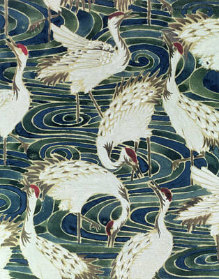 Crane Painting - Vintage Wallpaper Design by English School