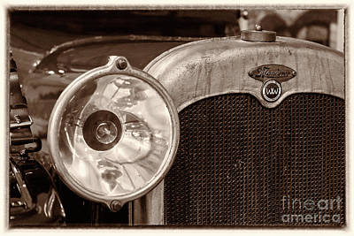 Photograph - Vintage Wanderer Auto, Hood And Lamp, Bw by Vyacheslav Isaev