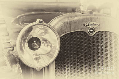 Photograph - Vintage Wanderer Auto, Hood And Lamp, In Sepia by Vyacheslav Isaev