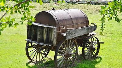 Wine Cart Photograph - Vintage Water Barrel Cart  by Cherie Cokeley