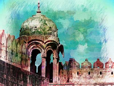 Vintage Watercolor Gazebo Ornate Palace Mehrangarh Fort India Rajasthan 2a Art Print