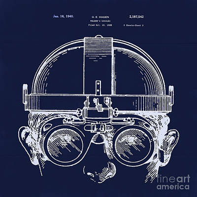 Safety Gear Digital Art - Vintage Welders Goggles Blueprint Detail Drawing by Tina Lavoie