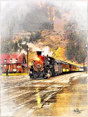 Tom Schmidt Painting - Vintage Western Train by Tom Schmidt