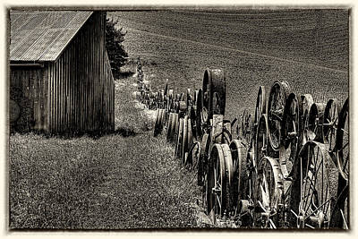 Vintage Wheel Fence Art Print by David Patterson