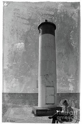 Photograph - Vintage Whitby Lighthouse by Nina Silver