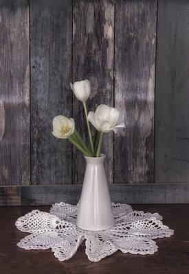 Photograph - Vintage White Tulip Still Life by Kim Hojnacki