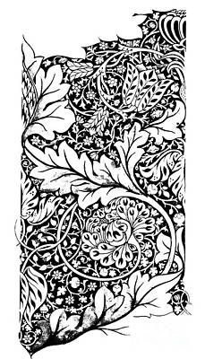 Blooming Drawing - Vintage William Morris Textile Pattern Design by William Morris