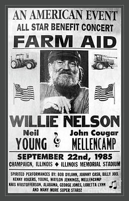 Photograph - Vintage Willie Nelson 1985 Farm Aid Poster Grayscale by John Stephens