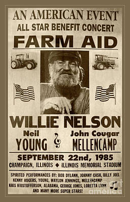 Photograph - Vintage Willie Nelson 1985 Farm Aid Poster Toned by John Stephens