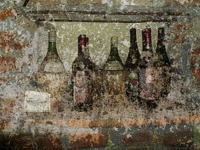 Vintage Wine Bottles - Tuscany  Art Print by Jen White