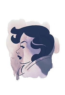 Painting - Vintage Woman Art - Beautiful Pastel Color Profile Portrait by Wall Art Prints