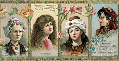 Mixed Media - Vintage Women's Hair Tonic Product Label by Edward Fielding