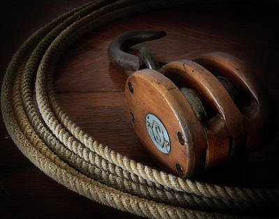 Photograph - Vintage Wood Block And Tackle With Rope by David and Carol Kelly
