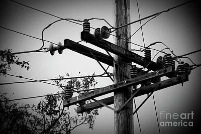 Photograph - Vintage Wood Power Poles High Voltage Electric Utility Maui Hawa by Sharon Mau