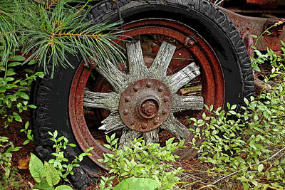 Photograph - Vintage Wood Spoke Wheel by Debbie Oppermann