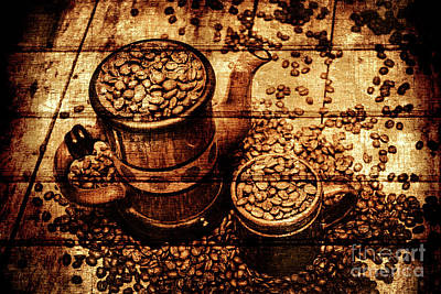 Close-up Photograph - Vintage Wooden Coffee Shop Sign by Jorgo Photography - Wall Art Gallery