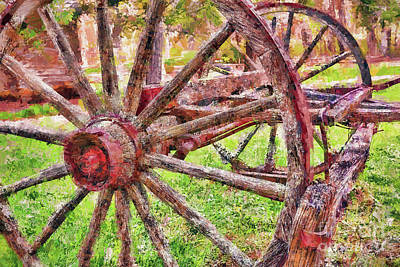 Painting - Vintage Wooden Wagon Wheel At Mabry Mill Ap by Dan Carmichael