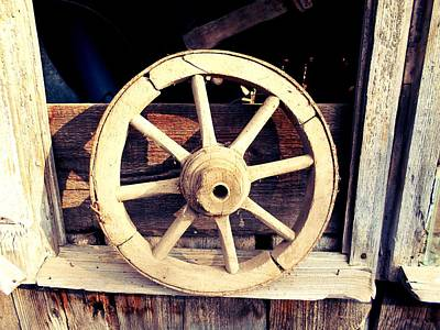 Photograph - Vintage Wooden Wheel by Erika H