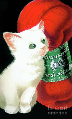Painting - Vintage Wool With White Kitty Poster by Mindy Sommers